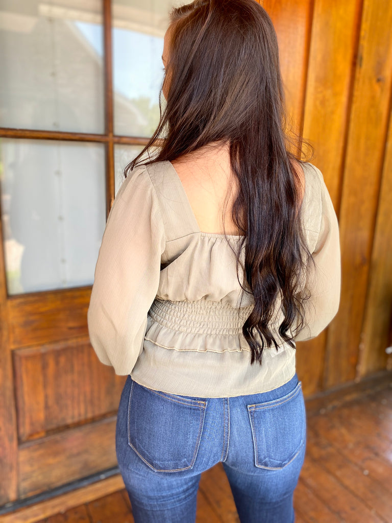 Light Olive Bell Sleeve Top