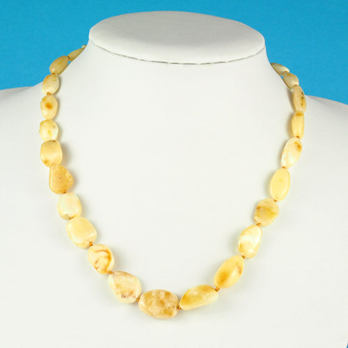 Natural White Amber Necklace With Bean Shaped Beads