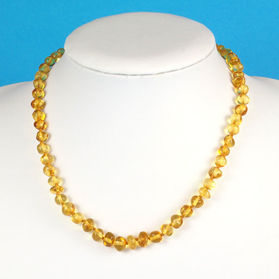 Amber Necklace 17 inch - Lemon 6 mm Baroque Beads