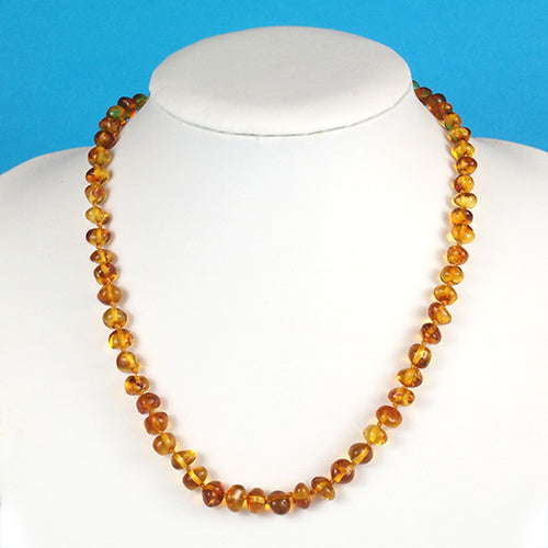 Amber Necklace 18 inch - Honey 7 mm Baroque Beads