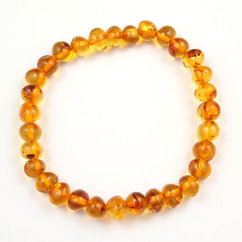 Adult Bracelet or Baby Anklet Honey Amber on Elastic