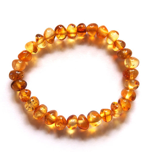 Baby Bracelet Honey Amber on Elastic