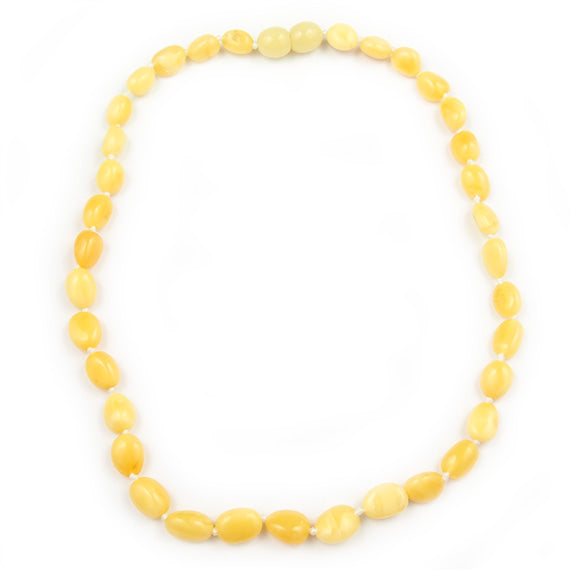 Baby Teething Necklace White Bean Shaped Beads