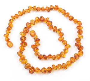 Adult Necklace - Honey Colored Baroque Amber 20 inch