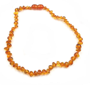 Baby Teething Necklace Light Cognac Bulky Baroque Beads