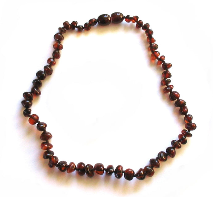 Baby Teething Necklace Cognac Bulky Baroque Beads