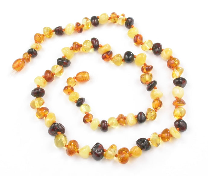 Adult Necklace - Multi-Colored Baroque Amber 20 inch