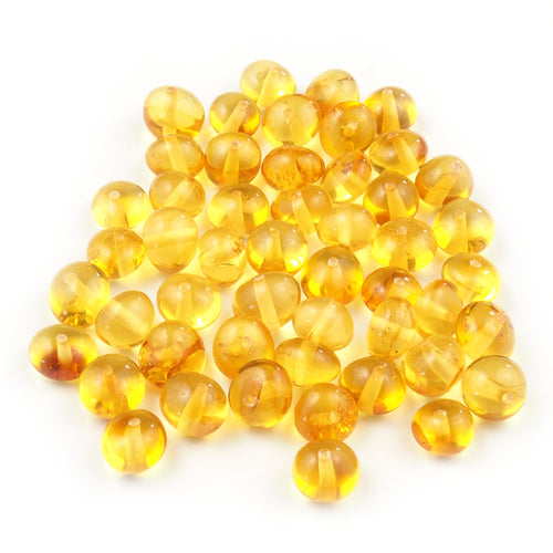 50 Baltic Amber Beads - Baroque Light Honey 6-7 mm