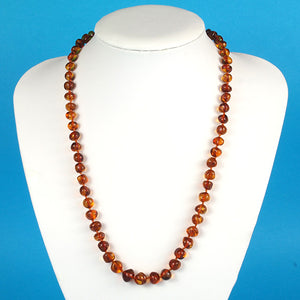 Amber Necklace 21.5 inch - Cognac 7-9 mm Baroque Beads