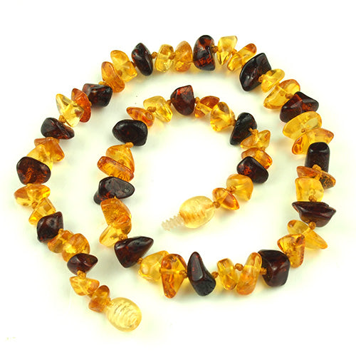 Baby Teething Necklace Amber Chip Beads Multi-color