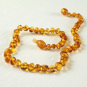 Baby Teething Necklace with Baltic Amber Beads and POP / Breakaway Clasp