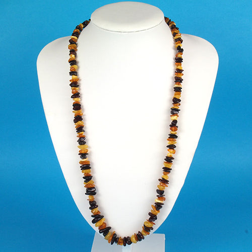 Health Necklace 27 inch Multi Colored Baltic Amber Chips