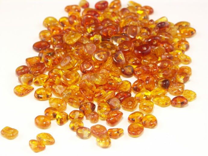 Baltic Amber Beads Flat 4-6 mm Honey 10 grams