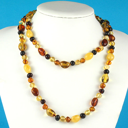 Amber Necklace 36 inch - Multicolor Beads