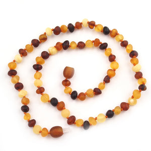 Adult Necklace - Multi-Colored Burnished Baroque Amber 18 inch