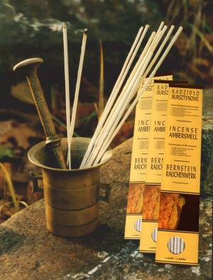 Amber Incense Stick Packages Containing 6 Incense Sticks