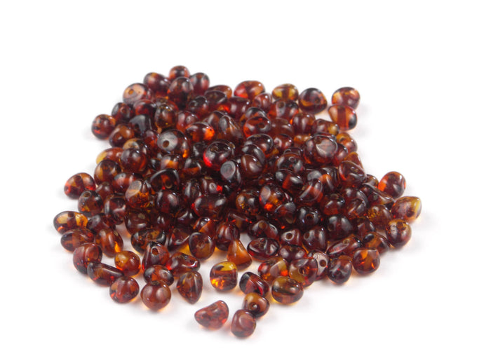 Baroque Small Dark Cognac Natural Baltic Amber Beads
