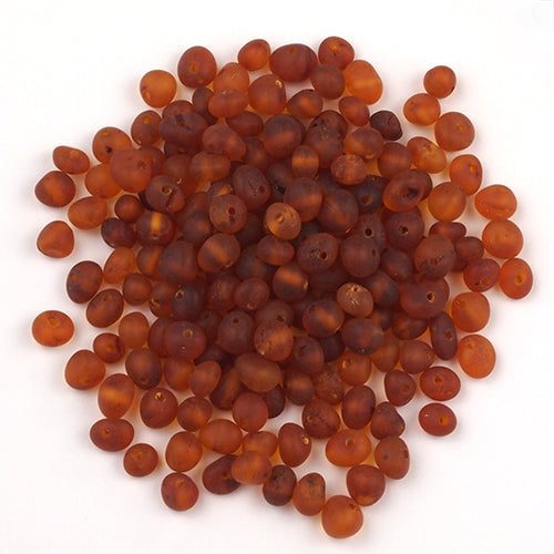 Baltic Amber Beads Burnished Baroque 4-5 mm - Dark Cognac