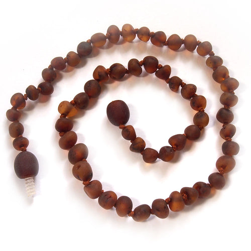Burnished (unpolished) Baby Teething Necklace Cognac