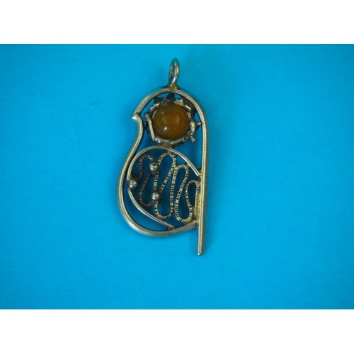 Collector's Old Amber And Silver Pendant