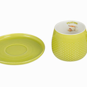 Tasse avec soucoupe verte - Collection Kitchen's Deco by Bravissima Kitchen | leadershopping.fr