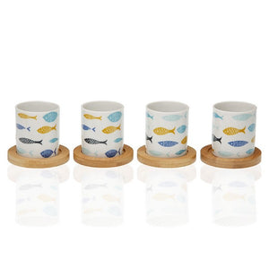 Ensemble de tasses à café Blue Bay Bambou Porcelaine (4 pcs) | leadershopping.fr