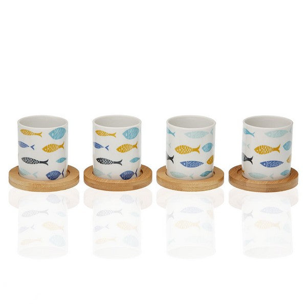 Ensemble de tasses à café Blue Bay Bambou Porcelaine (4 pcs)