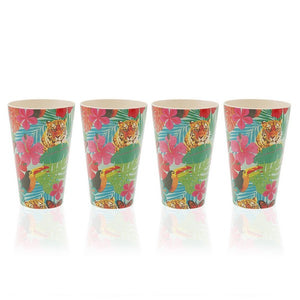 Set de Verres Jungle Fibre de bambou (8,3 x 13 x 8,3 cm) (4 pcs)