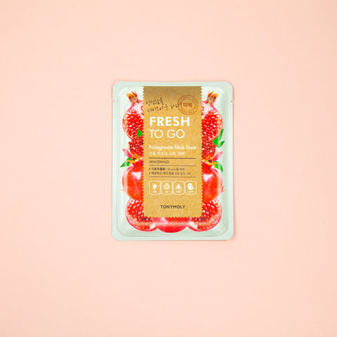 pomegranate infused facial sheet mask to help dull skin