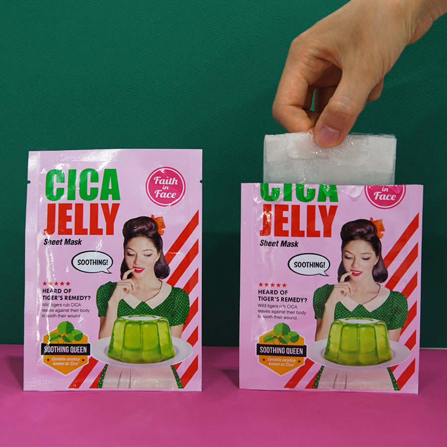 facial sheet mask with jelly essence infused with cica to help sensitive skin