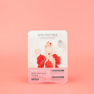 rose petal and rose oil infused foot mask for dry calloused feet