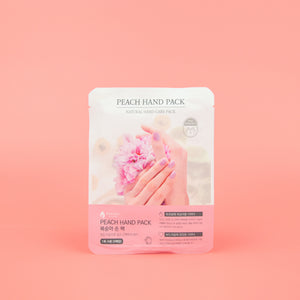 hand mask with peach extracts to moisturise and protect