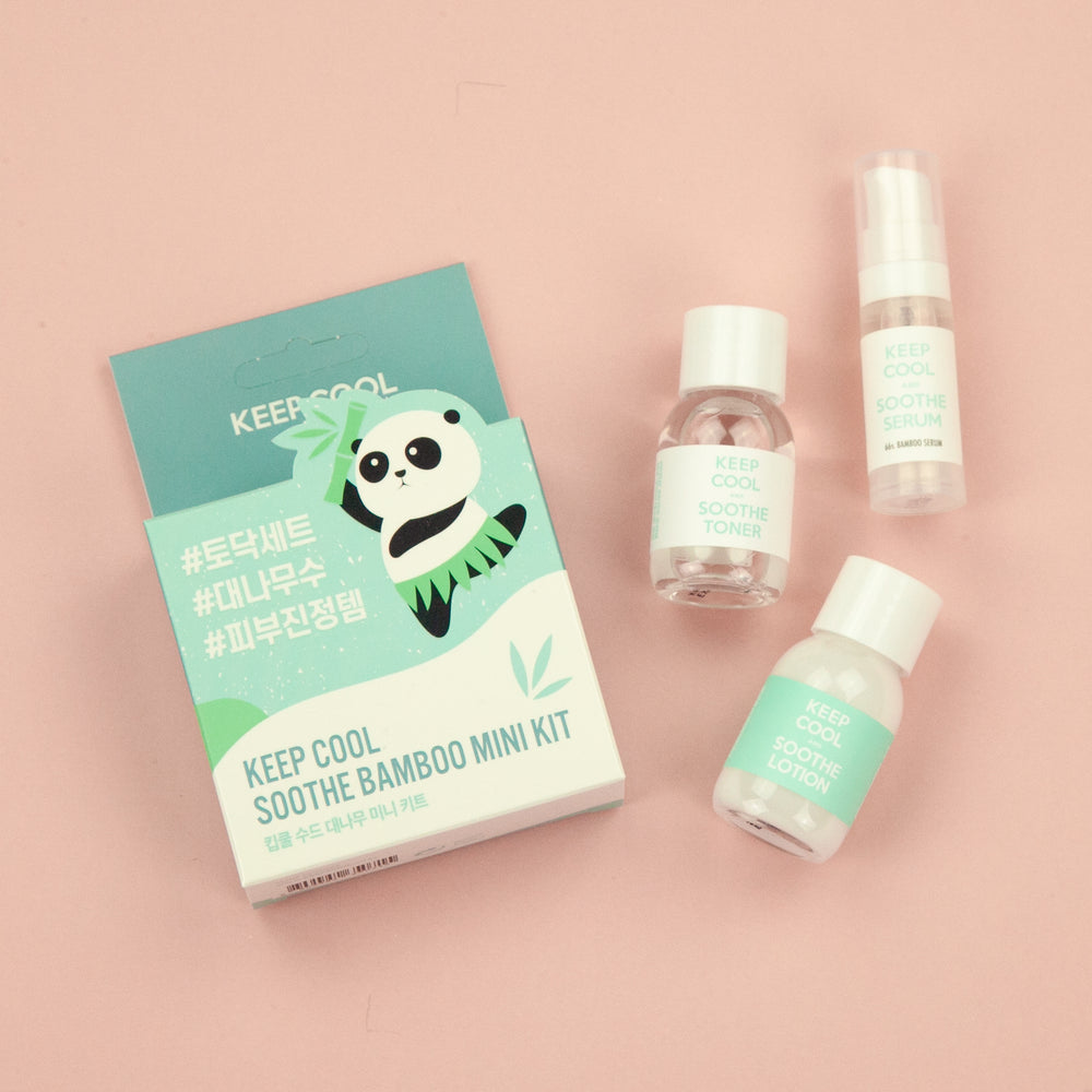three mini travel sized items infused with bamboo extract