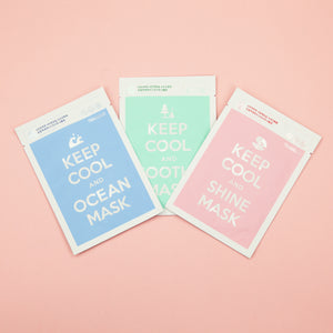 three set facial sheet mask for dry, oil and combination skin