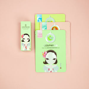Load image into Gallery viewer, green tea cleansing stick with three sheet masks kit