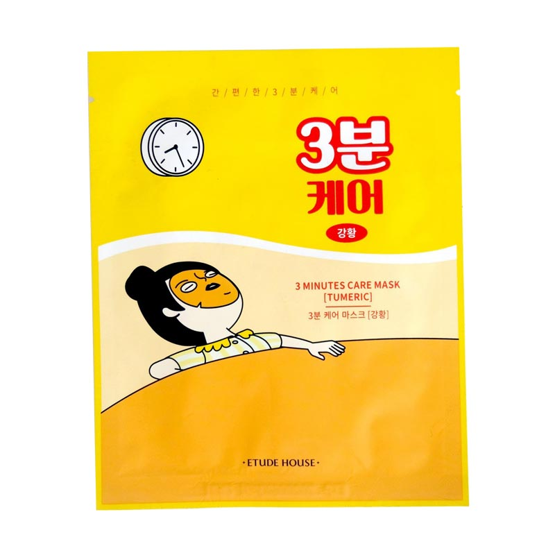 etude house korean three minute sheet mask containing turmeric and is great for dry skin