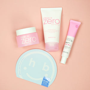 mask time's glass skin set with banilla co double cleansing, holika holika moisturiser for ultra clear glow