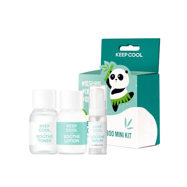 mini travel kit of toner, serum and lotion infused with bamboo extract