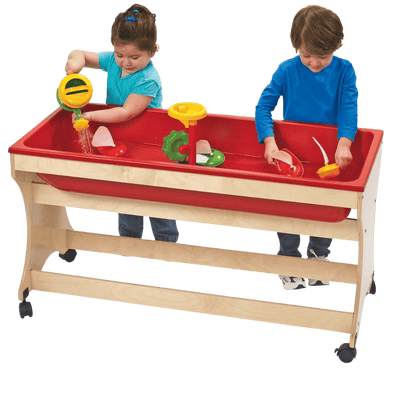 Children's Factory Value Line™ Birch Clear Sand and Water Table with Red Tub