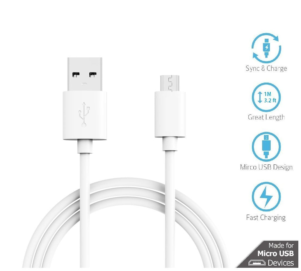 Hwire 1m Long Micro USB Cable with 2.4 Amp Charging Speed for Xiaomi, Samsung, Oppo, Vivo smartphones and Tablets(White)