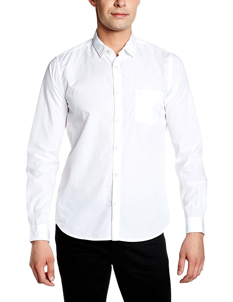 Pintapple Men's Cotton White Solid Casual Shirt