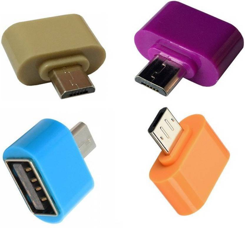 (Combo of 4) Hwire Micro USB On-The-Go OTG Adapter for Smartphones(Assorted Colour)