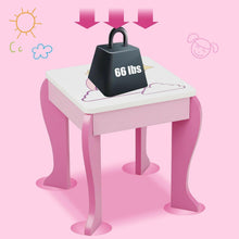 Load image into Gallery viewer, Kids Vanity Set Wooden Makeup Dressing Table Chair Set with Mirror and Drawer - Vanitiest
