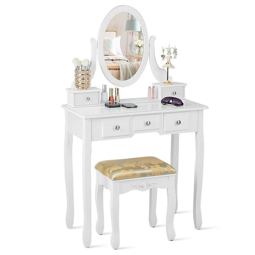 Vanity MakeUp Tablet Set Dressing Table Set with 5 Drawers and Mirror - Vanitiest