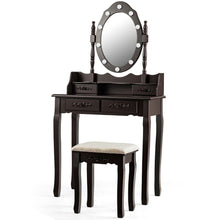 Load image into Gallery viewer, Makeup Vanity Dressing Table Set with 10 Dimmable Bulbs and Cushioned Stool