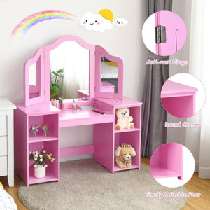 2 in 1 Detachable Design Kids Vanity Dressing Table Set with Tri Folding Mirror - Vanitiest