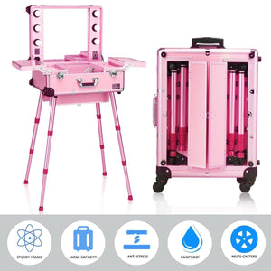 Portable Rolling Makeup Case Cosmetics Storage Luggage Travel with 6 LED Lights Mirror and Telescoping Legs - Vanitiest