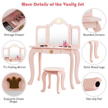 Load image into Gallery viewer, Kids Vanity Set Makeup Dressing Table Chair Set with Drawer & Tri-Folding Mirror - Vanitiest
