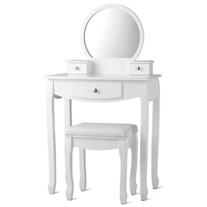 Vanity Set Makeup Dressing Table with Large Round Mirror and 3 Drawers - Vanitiest