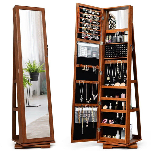 360° Rotatable Jewelry Cabinet Armoire 2-in-1 Lockable Mirrored Organizer - Vanitiest
